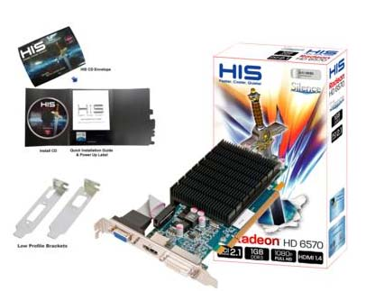 VGA HIS AMD PCIE HD 6570 1gb DDR3