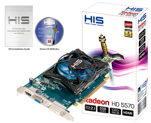VGA HIS AMD PCIE HD 5570 FAN 2gb DDR3