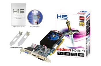 VGA HIS AMD PCIE HD 5570 FAN 1gb DDR3
