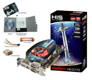 VGA HIS AMD PCIE HD 5770 FAN 1gb DDR5