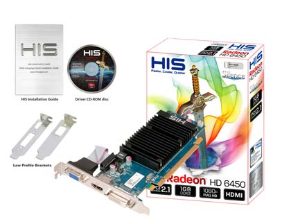 VGA HIS AMD PCIE HD 6450 1gb DDR3