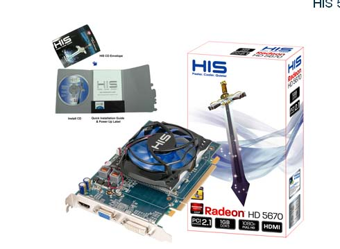 VGA HIS AMD PCIE HD 5670 1gb DDR3