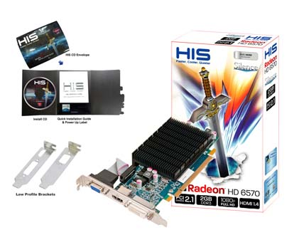 VGA HIS AMD PCIE HD 6570 2gb DDR3