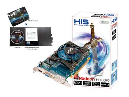 VGA HIS AMD PCIE HD 6670 2gb DDR3