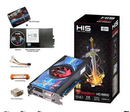 VGA HIS AMD PCIE HD 6850 1gb DDR5