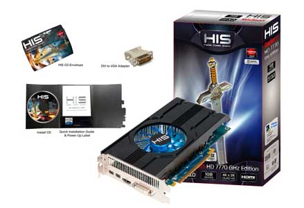 VGA HIS AMD PCIE HD 7770 1gb DDR5